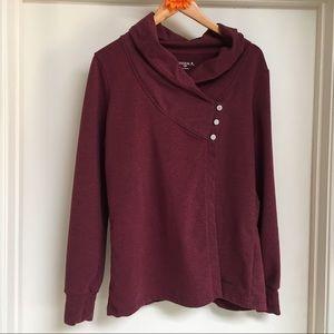 Danskin cowl neck button sweatshirt